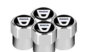 Захисні металеві ковпачки Primo на ніпель, золотник автомобільних коліс з логотипом Dacia - Silver