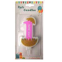 """Свеча цифра """"1"""" для торта. Первый день Рождения. Девочка. Тортовые свечи"""