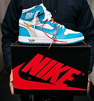Женские кроссовки Off White Air Jordan 1 Retro UNC Blue/White Найк Аир Джордан Офф Вайт голубые AQ0818-148, фото 2