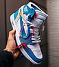 Женские кроссовки Off White Air Jordan 1 Retro UNC Blue/White Найк Аир Джордан Офф Вайт голубые AQ0818-148, фото 5