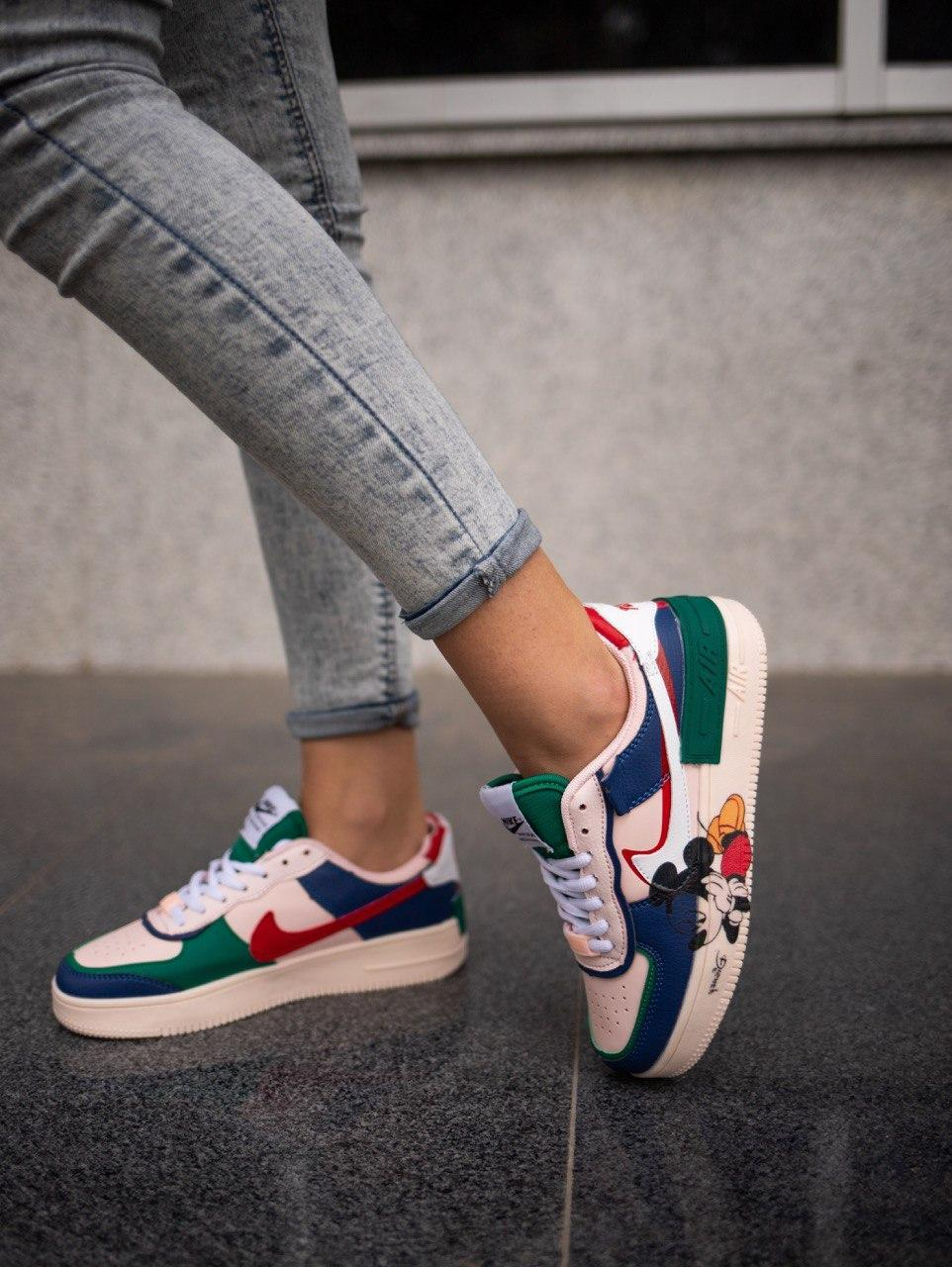 Кросівки жіночі Nike Nike Air Force Shadow Pink Blue Mickey Mouse