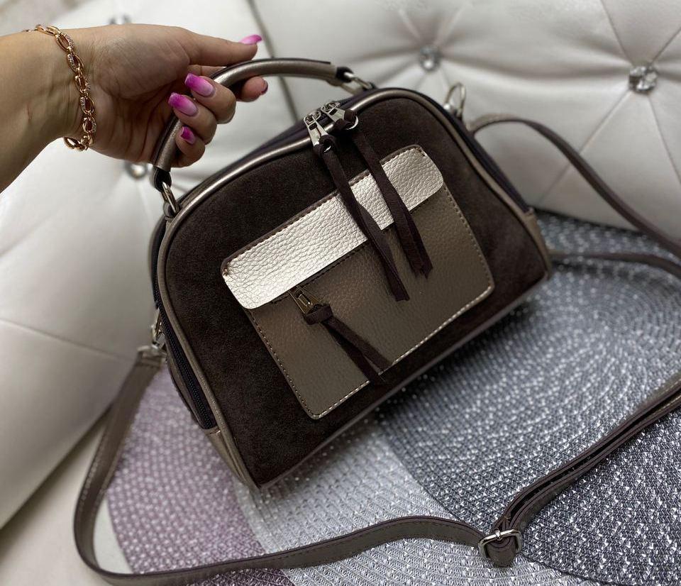 Маленькая замшевая женская сумочка через плечо сумка кросс-боди шоколадная натуральная замша+кожзам
