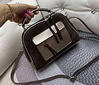 Маленькая замшевая женская сумочка через плечо сумка кросс-боди шоколадная натуральная замша+кожзам, фото 1