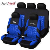 Чехлы на сиденья авто универсальные материал полиэстер Синего цвета