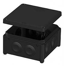 Коробка 100*100х50 розподільча чорна накладна IB006 Plank Electrotechnic