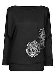 Женская нарядная кофта с рисунком Маки больших размеров с вырезом