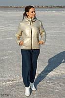 Золотиста мерехтлива куртка жіноча з капюшоном АТ/-171