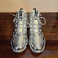 Модные утепленные кроссовки Kimbo-o на девочку цвет силвер металлик
