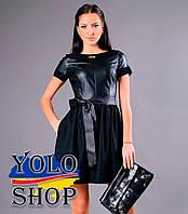 Платье Катрин, Трикотаж(Дайвинг) + экокожа