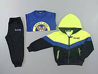 {есть:4 года} Трикотажный костюм - тройка для мальчиков S&D, Артикул: CH5727-салатовый [4 года]
