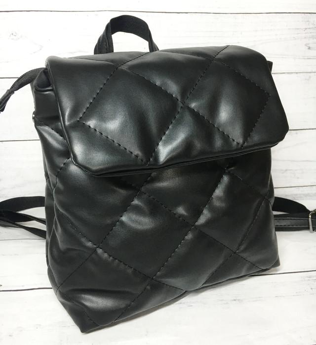 Женский рюкзак стеганный черный