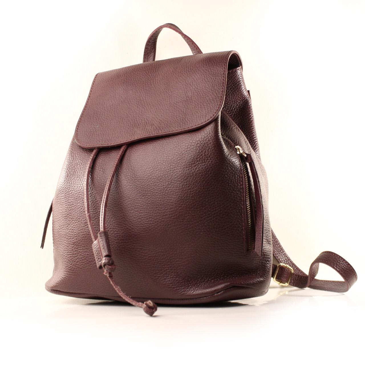 Рюкзак кожаный итальянский Casa Familia BIC0-1224 бордовый