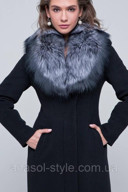Зимнее роскошное пальто Айрис с воротником из чернобурки черное