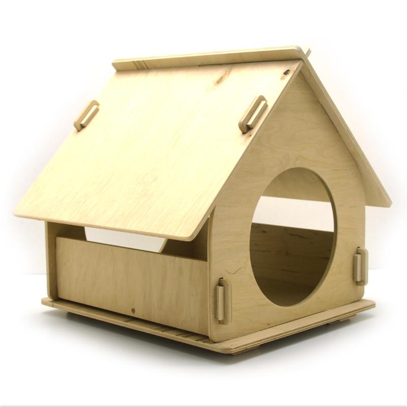Эко домик 3 для кошек и малых собак из дерева
