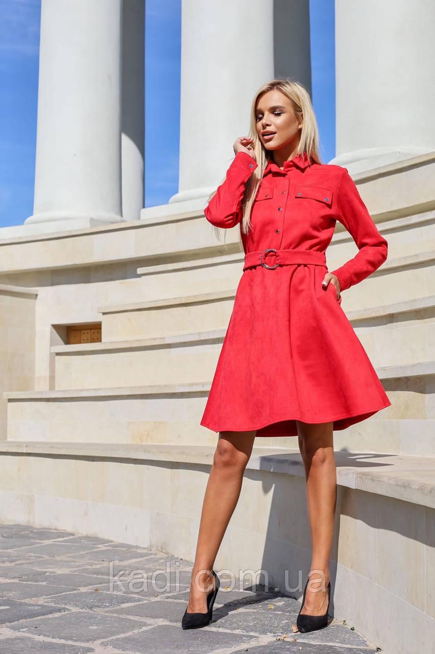Замшевое платье с поясом / арт.398