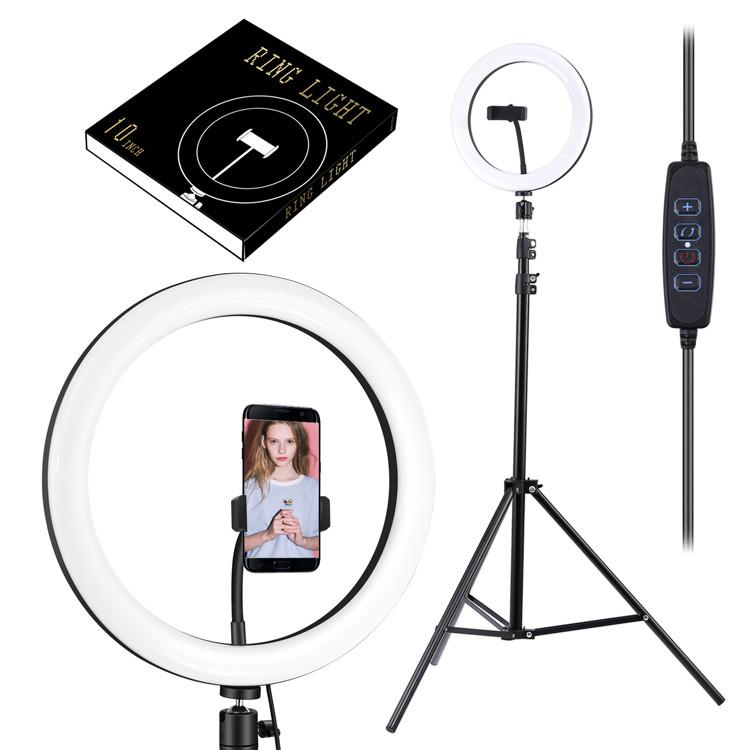 Светодиодная кольцевая лампа со штативом для визажиста, парикмахера, блогера / лампа для фото макияжа