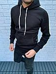 😜 Худи - Мужская худи черная на флисе, фото 2