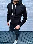 😜 Худи - Мужская худи черная на флисе, фото 3