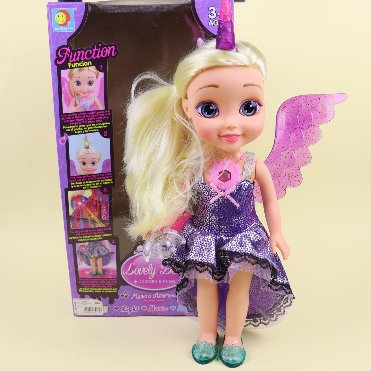 XMY8088 Кукла фея-единорог, муз., Свет, бат., Кор., 22-40,5-12 см.