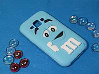 Объемный 3D силиконовый чехол для Samsung Galaxy J1 J100 M&M's голубой