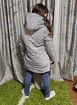 Детская теплая зимняя куртка для девочки рефлективная светоотражающая на зиму серая снежинки 10-11 лет, фото 3
