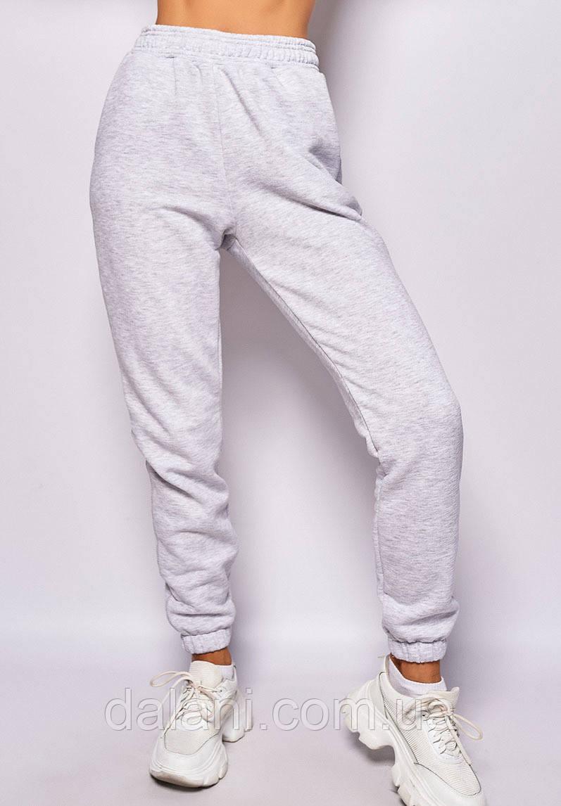 Утеплённые женские серые штаны с завышенной талией