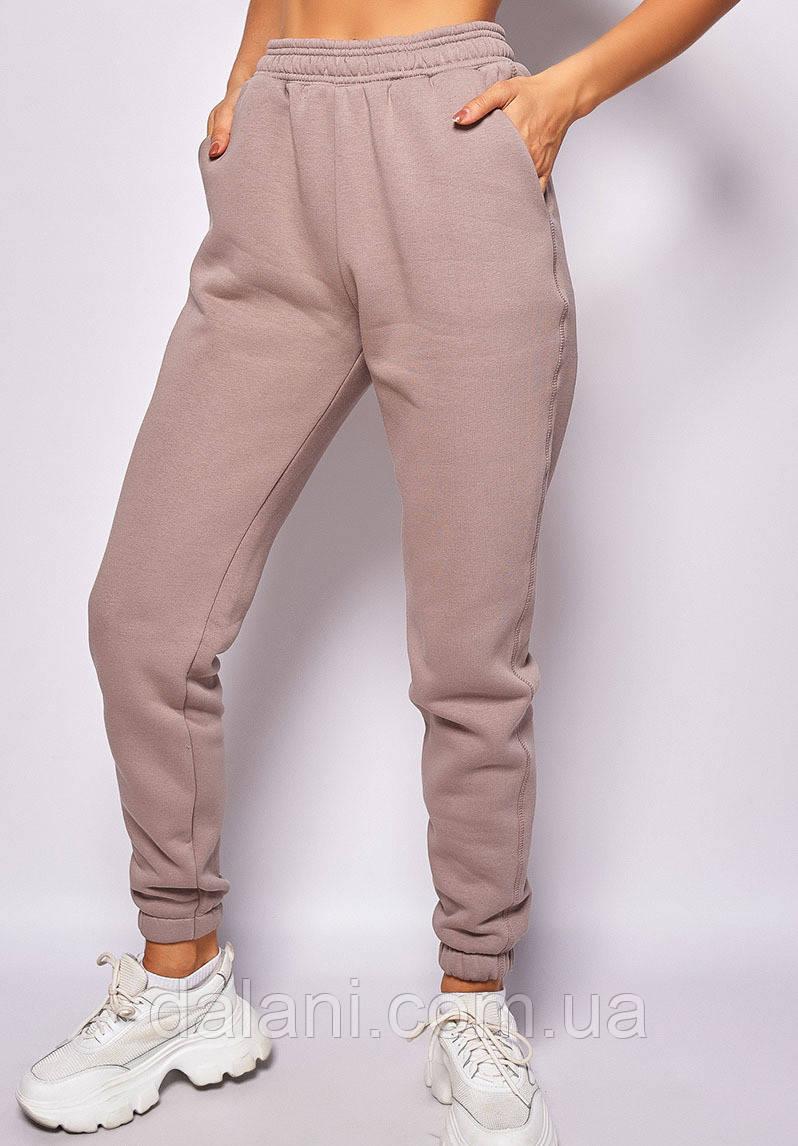Утеплённые женские розовые штаны с завышенной талией