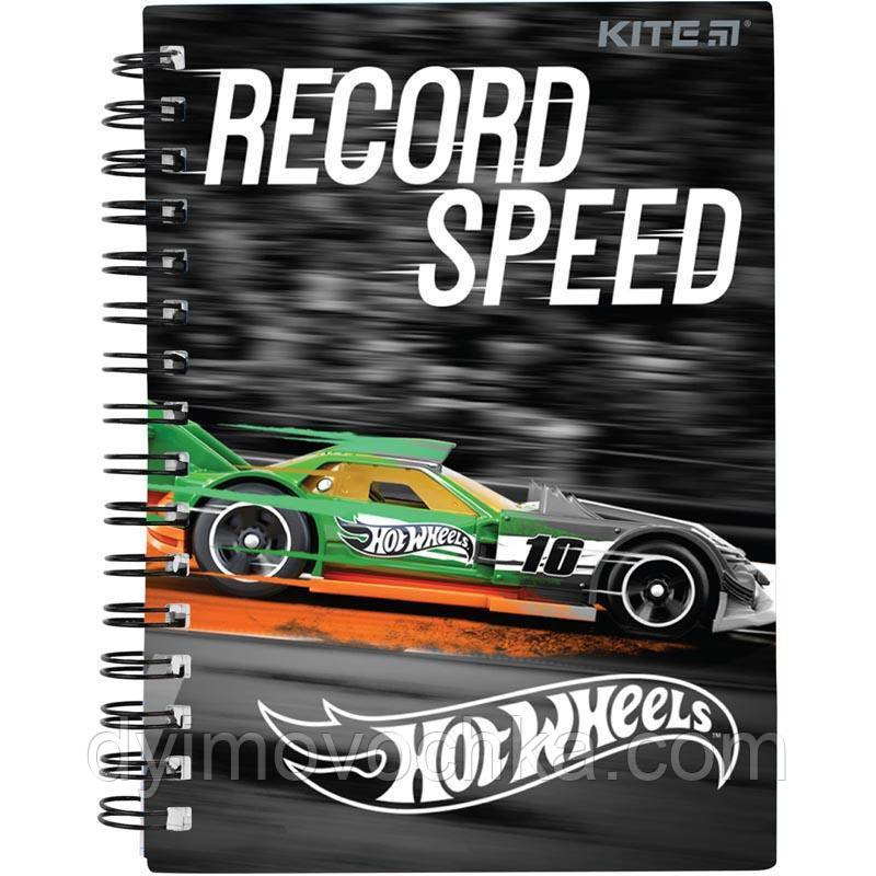 Записная книга блокнот Kite Hot Wheels А6,80л.,пласт обл.,спираль HW19-226