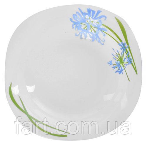 """Тарелка стеклокерамика квадрат 8"""" (20.3см) 6шт/наб """"Гиацинт"""""""