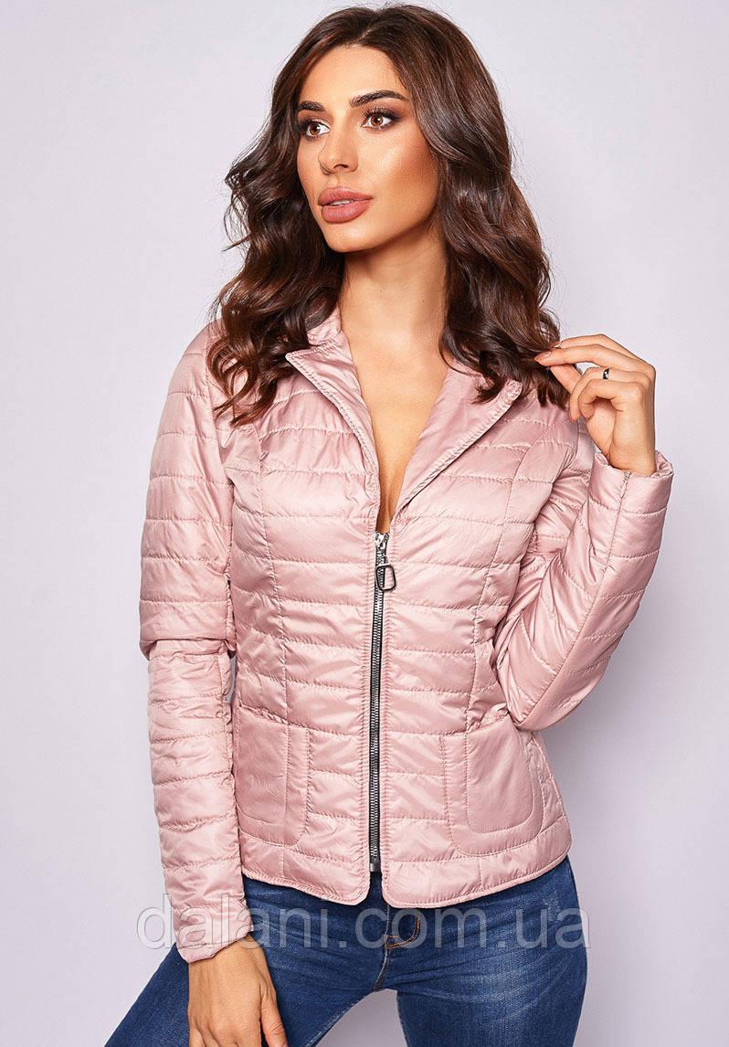 Укороченная женская розовая куртка на молнии