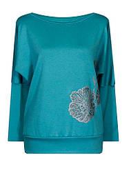 Женская яркая кофта на весну Маки больших размеров с вырезом