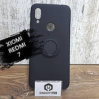 Силиконовый чехол для Xiaomi Redmi 7 с магнитом и кольцом