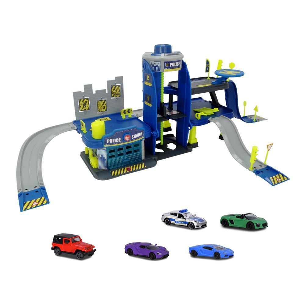 Игровой набор паркинг трехуровневый гараж и 5 машинок Полиция Majorette 2050030