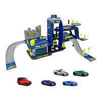 Игровой набор паркинг трехуровневый гараж и 5 машинок Полиция Majorette 2050030, фото 1