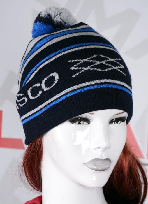 Полосатая шапка с помпоном черная с синим