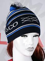Полосатая шапка с помпоном черная с синим, фото 1