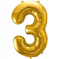"""Шар из фольги золото цифра """"3"""""""