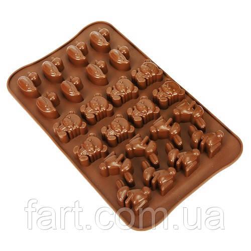 """Форма силикон для конфет """"Звери"""" 24шт/л 23*14*1.5см"""