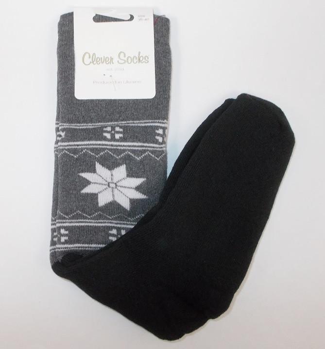 Гольфы теплые Clever socks размер 36-40 серые