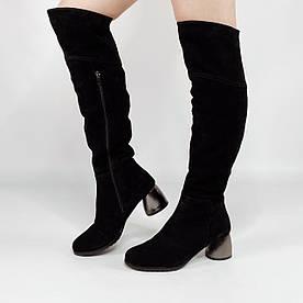 Жіночі чоботи 1688-6238 MORENTO (чорні, натуральна замша, вовна, зима)