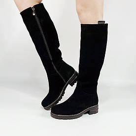 Жіночі чоботи BR-118 MORENTO (чорні, натуральна замша,вовна, зима)