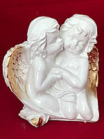 Фигурка ангелов из гипса Ангелочки пара крыло, золото, 27 см