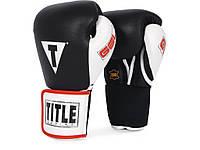 Гелевые боксерские перчатки TITLE GEL World 12, 14 и 16 унций тренировочные, кожаные перчатки для бокса