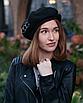 Берет женский французский с кольцами черный трендовый зимний теплый замшевый, фото 2