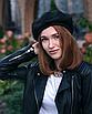 Берет женский французский с кольцами черный трендовый зимний теплый замшевый, фото 3