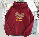 Женский теплый худи кофта с капюшоном двухнить размер универсал 42-46, фото 7