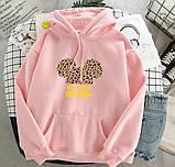 Женский теплый худи кофта с капюшоном двухнить размер универсал 42-46, фото 4