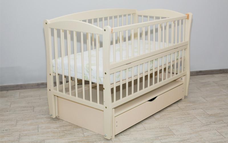 Детская кроватка Дубок Элит Веселка маятник+ящик, Слоновая кость