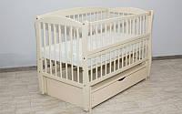 Детская кроватка Дубок Элит Веселка маятник+ящик, Слоновая кость, фото 1