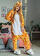 Пижама Кигуруми Жираф для детей от 120 см и взрослых, женская и мужская из качественного велсофта